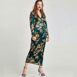 Zara Green Kimono Floral Print Wrap Dress